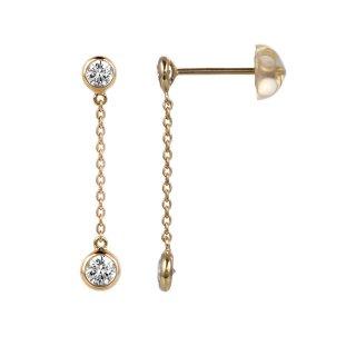 K18 ダブルストーン ダイヤモンドピアス Petit Bezel & Bezel (プティベゼル&ベゼル) 0.3ctの商品画像