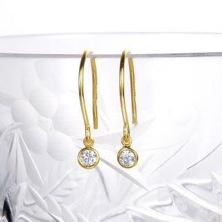 K18 ダイヤモンド フックピアス Petit Bezel (プティ ベゼル) 005 0.1ctの商品画像