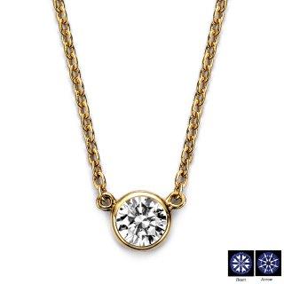 K18 一粒ダイヤモンドネックレス 0.2ct D VS2 3EX H&C 鑑定書の商品画像