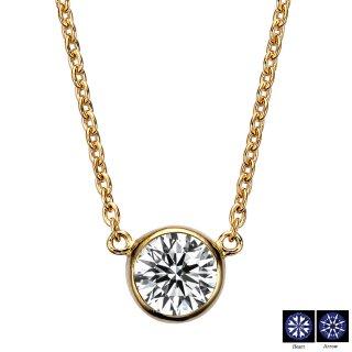 K18 一粒ダイヤモンドネックレス ベゼル 0.5ct D〜F VVS1〜VS2 3EX H&Cの商品画像