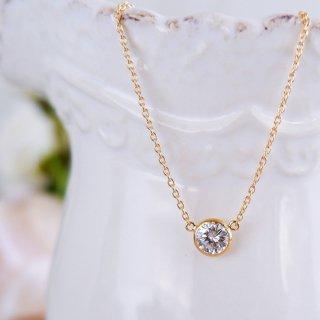 【限定1点】K18 一粒ダイヤモンドネックレス ベゼル 0.5ct F VS2 VERYGOODの商品画像