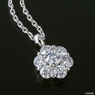 Pt950 ダイヤモンドパヴェ 1.0CT フラワーネックレスの商品画像