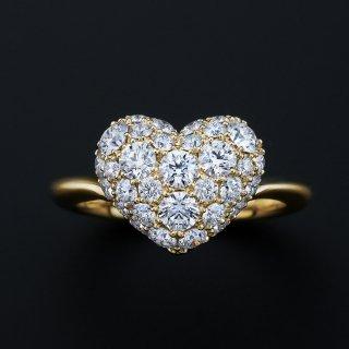 K18 ダイヤモンドパヴェ 1.2CT ハートリングの商品画像