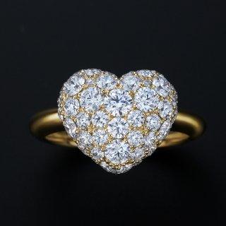 K18 ダイヤモンドパヴェ 2.0CT ハートリングの商品画像