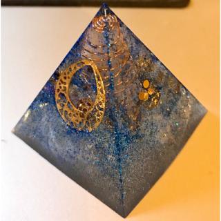 オルゴナイト ピラミッド オブジェ 置物 羽根シリーズ 青