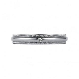 K18WG ミルグレイン with ダイヤモンド 3mmの商品画像