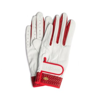 Elegant Golf Glove 【両手】<br>white-red