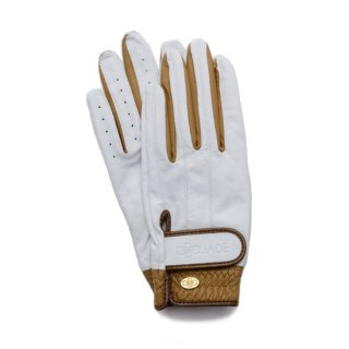 Elegant Golf Glove 【両手】<br>white-brandy