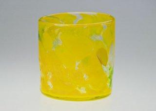 波の花 ロックグラス 黄