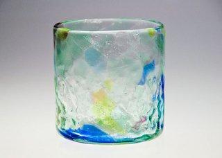 波の花 ロックグラス エメラルドグリーン