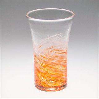 さざ波 ビアグラス オレンジ