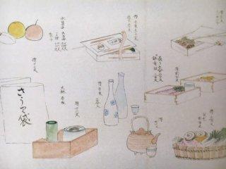 HUMUポストカード(場中売り物の図)
