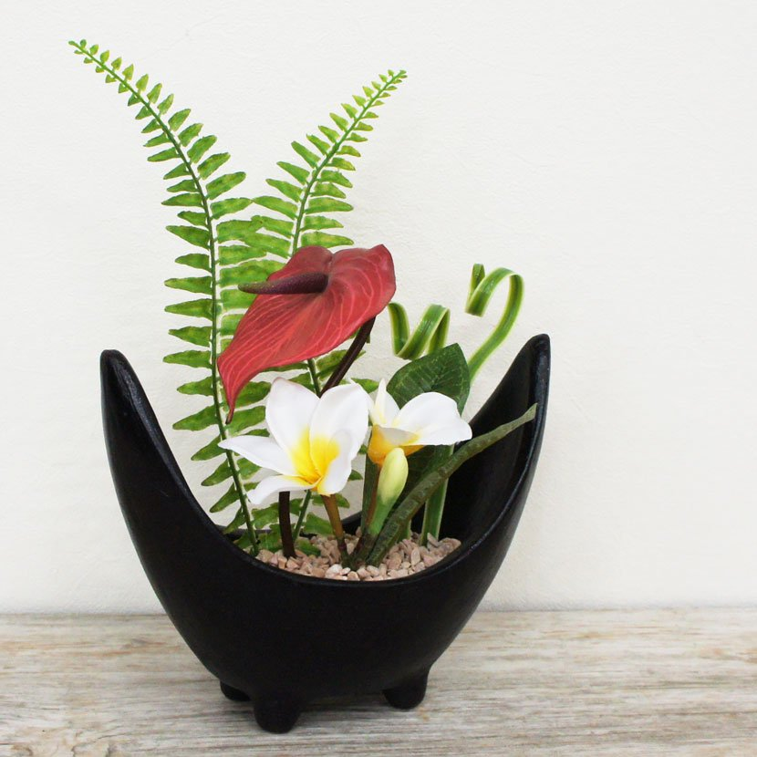 バリの鉢付き人工観葉植物・モンステラ/H28cm/GT-002