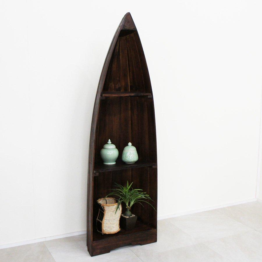 アジアン家具・ボート型飾り棚M・H143cm