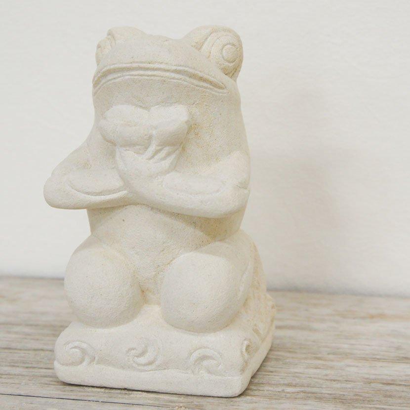 バリ石像カエル・お花/H20cm/SD-025