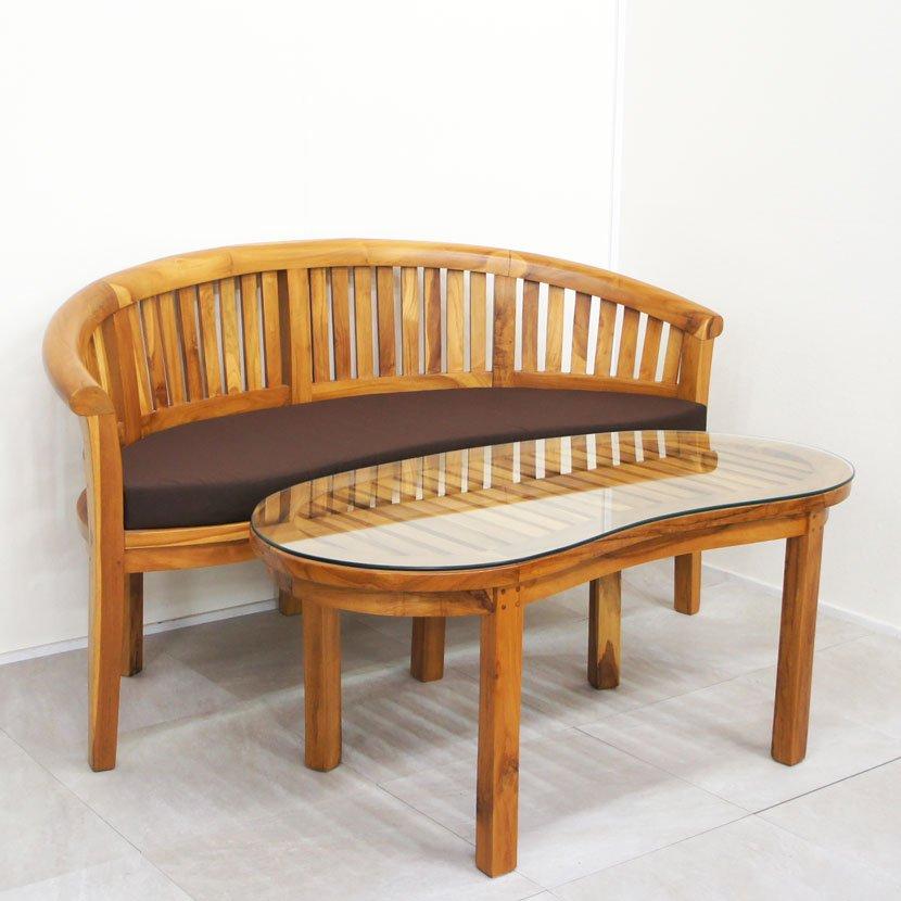 チーク楕円型ソファ・テーブル2点セット
