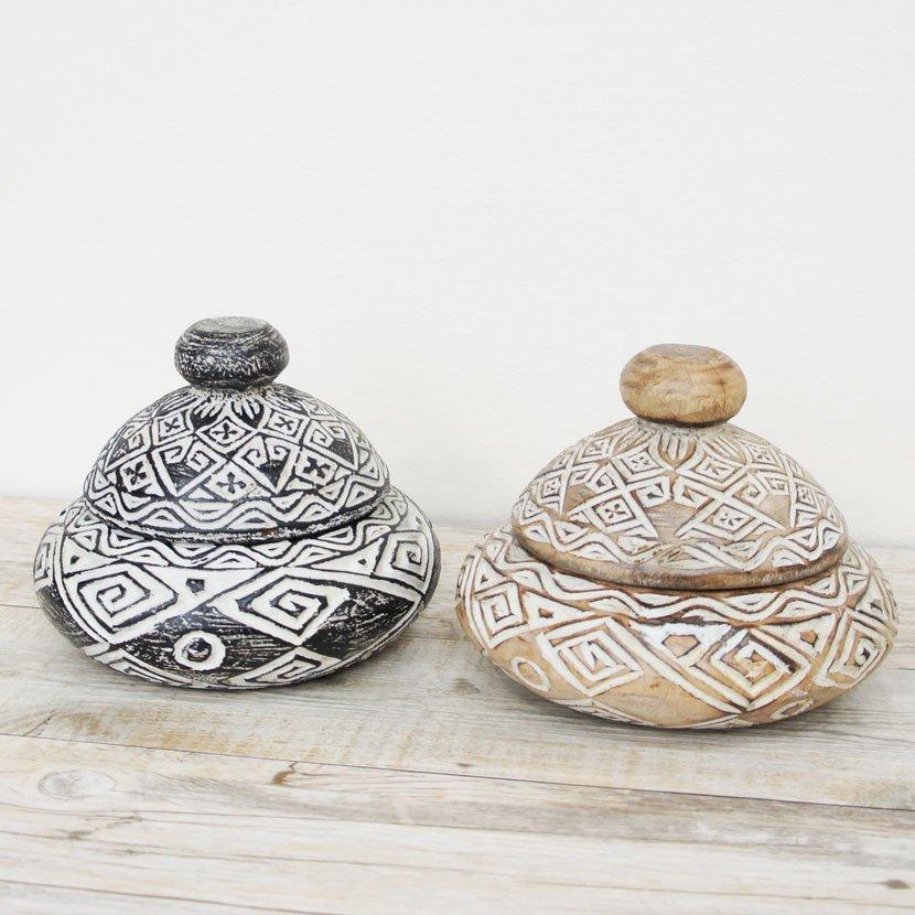 バリ木製彫刻蓋つき小物入れ/直径20cm/AZ-008-2