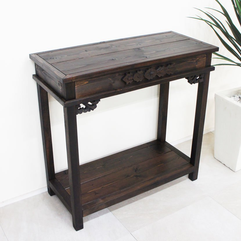 アジアン家具・木製コンソールテーブル/H70*W73cm/BOT-001