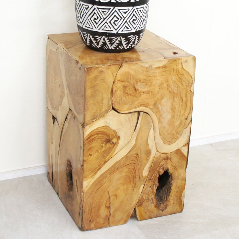 バロンオリジナル木製レリーフガラステーブル/H70cmW35cm/BOT-003