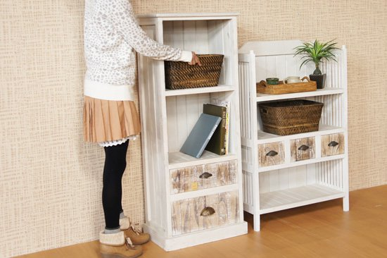 アジアン家具:木製キャビネット:ホワイト高さ121cm