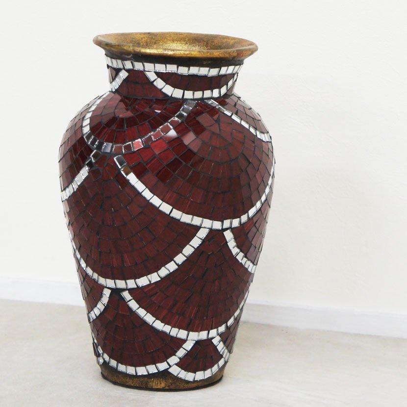 テラコッタ装飾用壺・モザイクガラス・ブルー/H60cm/OB-040-2S