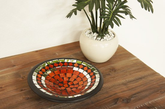 モザイクガラスプレートS・オレンジ・直径20cm