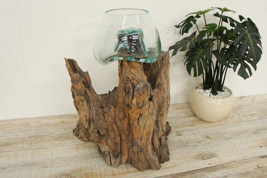 天然木とバリガラスの水鉢・OB-095L-8