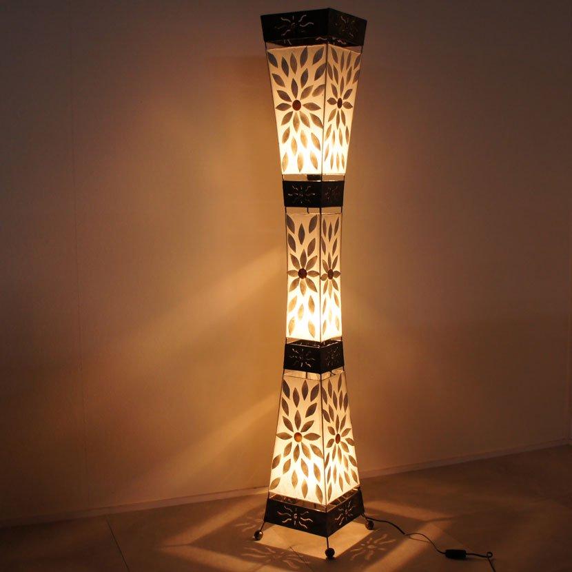 LEDアジアンランプ・貝殻フラワー模様/H150cm/NL-071
