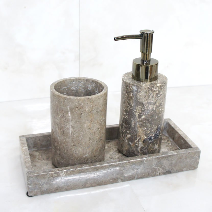 バリ天然石ソープディスペンサーセット