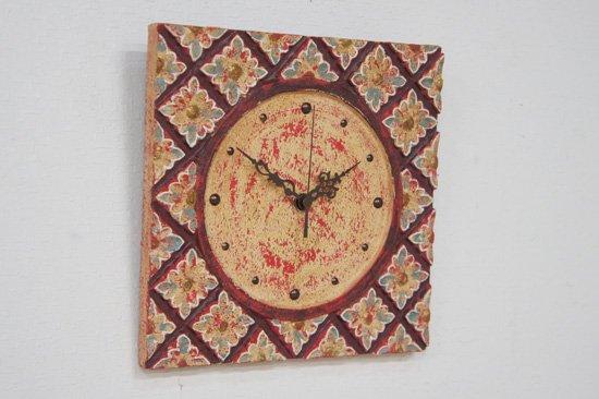 アンティーク風アジアン掛け時計・25×25cm