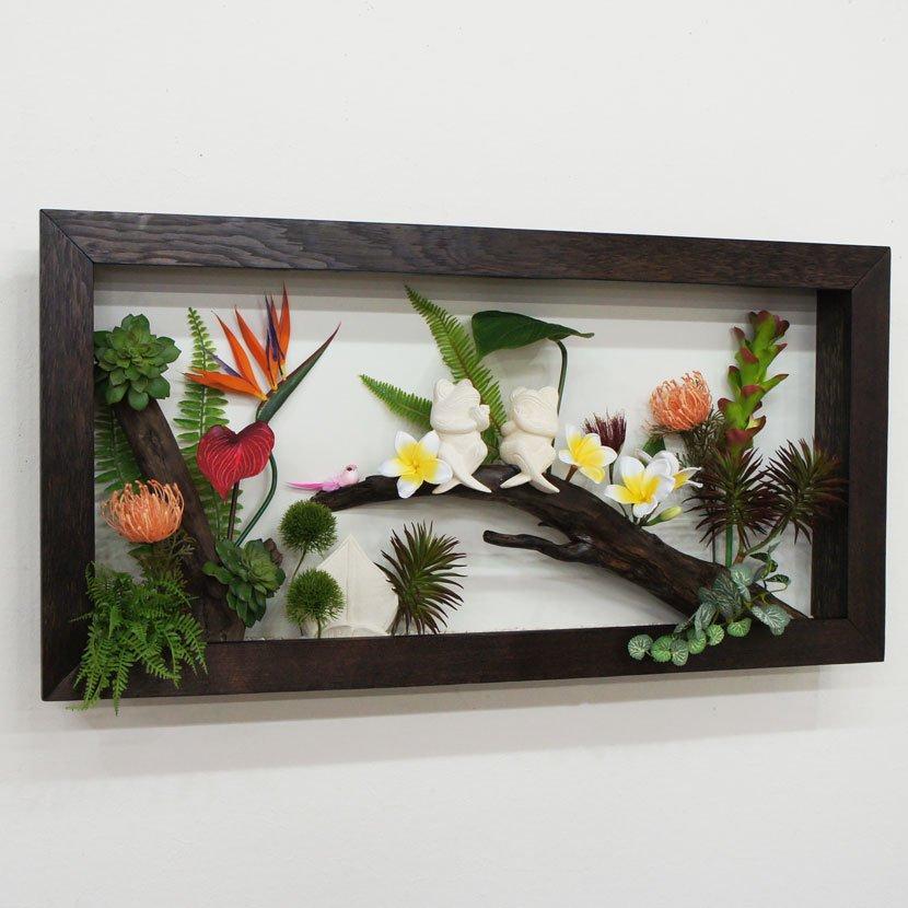 壁に飾るリゾート風人工観葉植物/80*40cm/GK-001-34