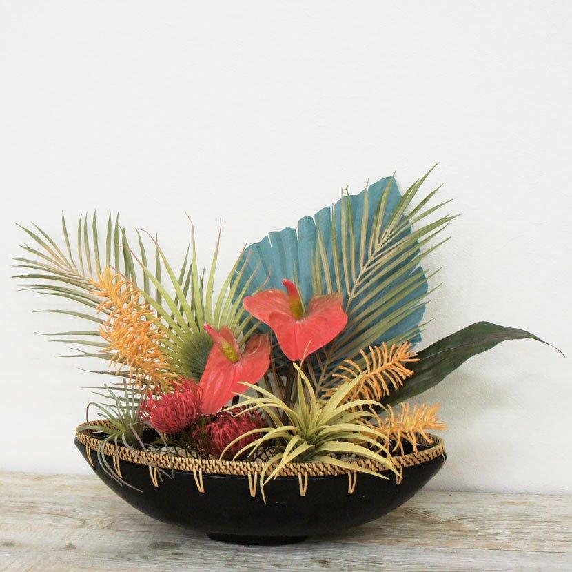 バリ石像カップルと造花のオブジェセット/W52cm/GO-001-6