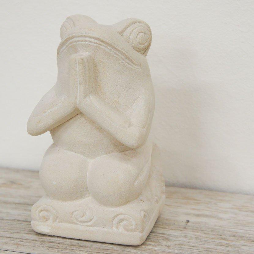 バリ石像カエル・お祈り/H20cm/SD-034