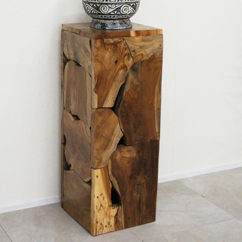 アジアン家具・木製ハンドメイド台・ブラウン