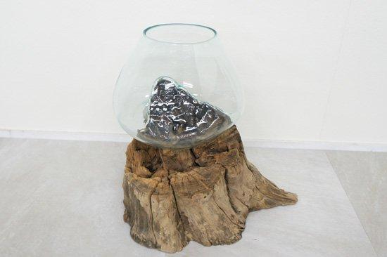 天然木とバリガラスの水鉢・超特大・OB-095O-6
