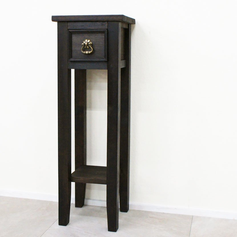アジアン家具・木製ハンドメイド台・ダークブラウン