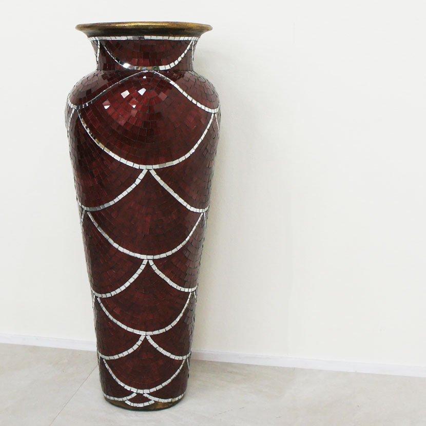 テラコッタ装飾用大壺・モザイクガラス・ブルー/H80cm/OB-040-2M