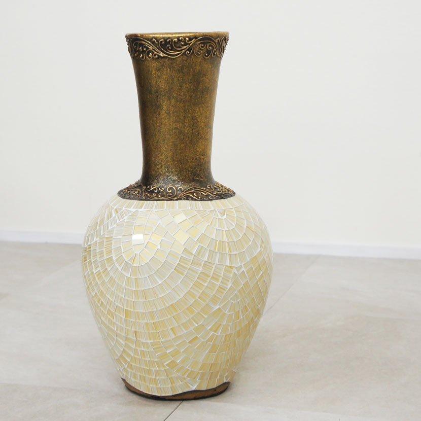 テラコッタ装飾用特大壺・モザイクガラス・高さ97cm