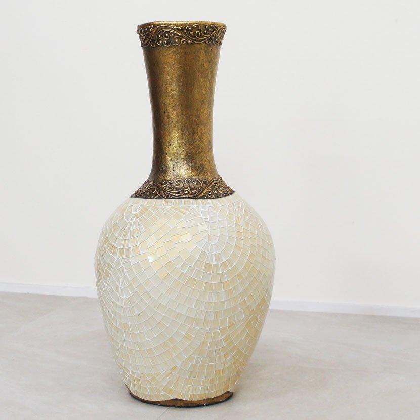 テラコッタ装飾用特大壺・モザイクガラス・高さ82cm