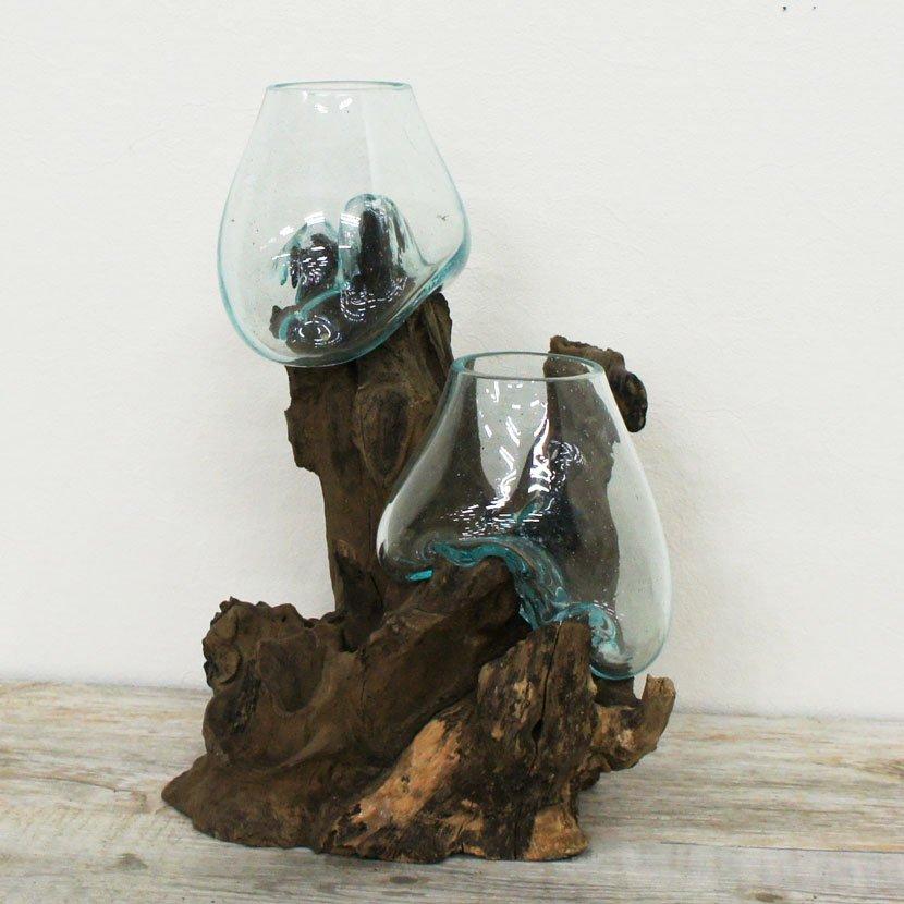 天然木とバリガラスの水鉢/H22*W28cm/OB-095DM-1