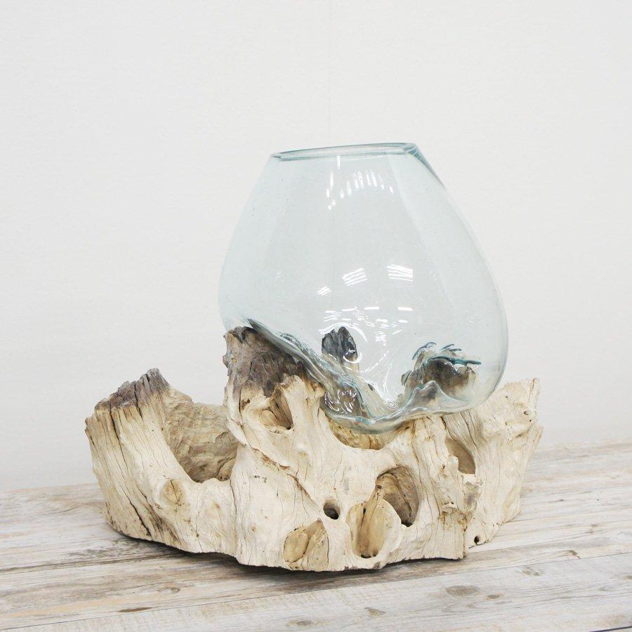 天然木とバリガラスの水鉢・H39*W48cm