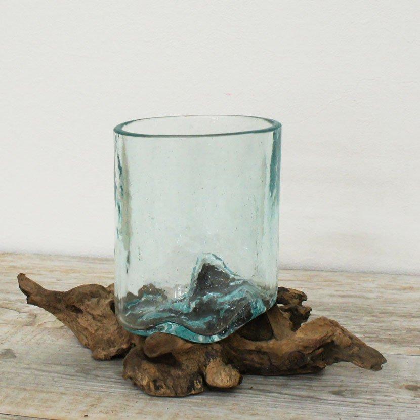 天然木とバリガラスの水鉢・H21*W15cm