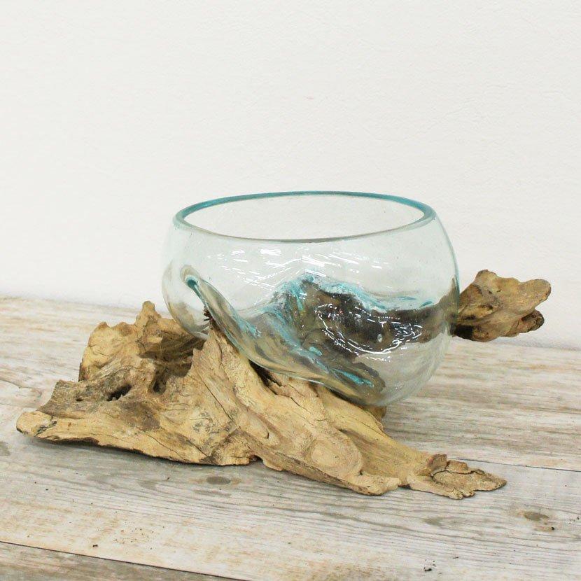 天然木とバリガラスの水鉢/H17*W25cm/OB-095S-28