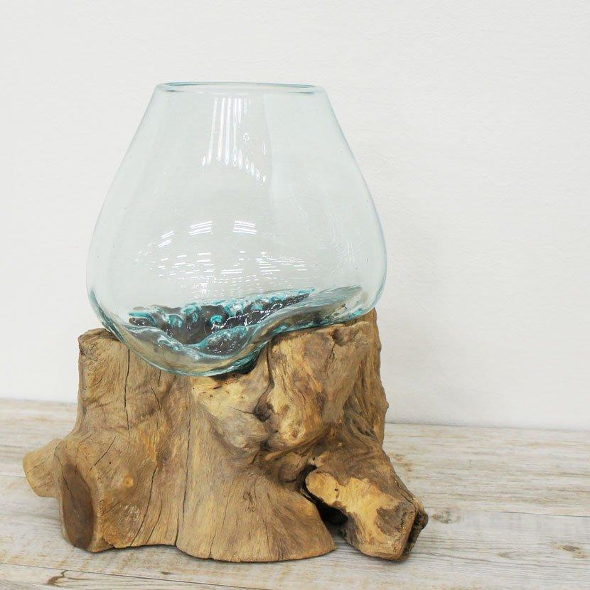 天然木とバリガラスの水鉢/H15*W33cm/OB-095L-17