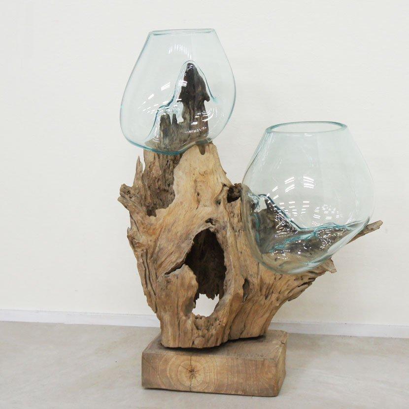 天然木とバリガラスの水鉢・H36*W43cm・OB-095O2-4