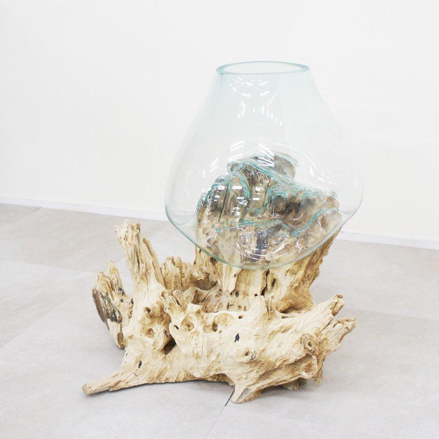 天然木とバリガラスの水鉢・H52*W50cm・OB-095O3-1