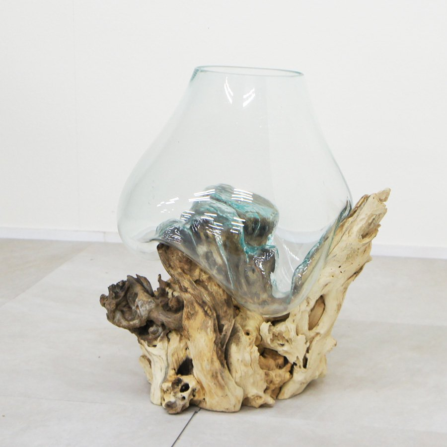 天然木とバリガラスの水鉢・H45*W36cm・OB-095O2-9