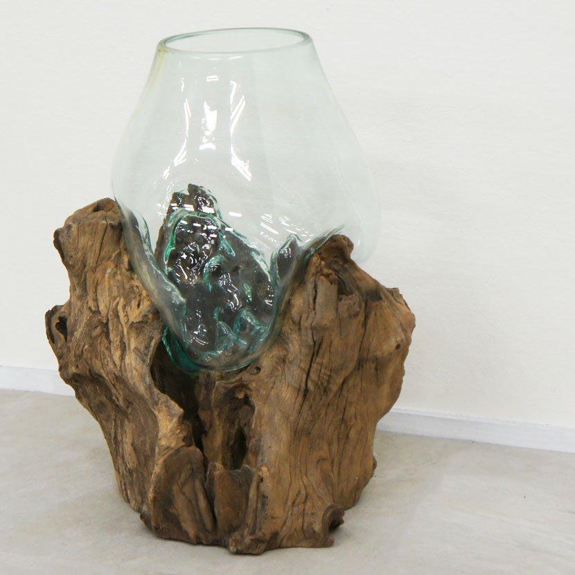 天然木とバリガラスの水鉢/H75*W40cm/OB-095DO1-7