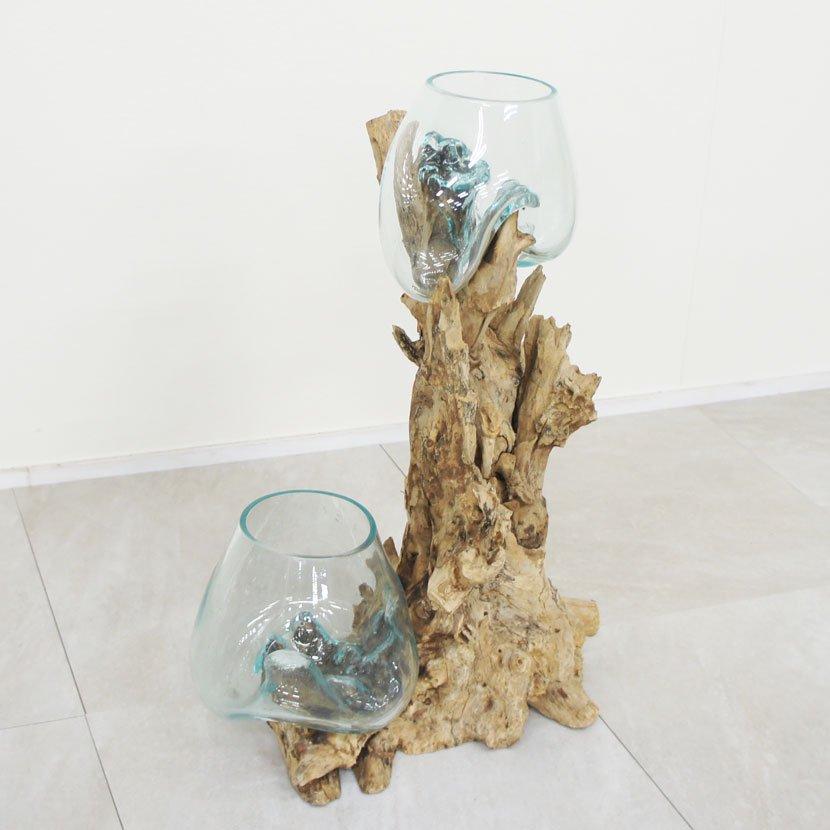 天然木とバリガラスの水鉢/H60*W42cm/OB-095DO1-5