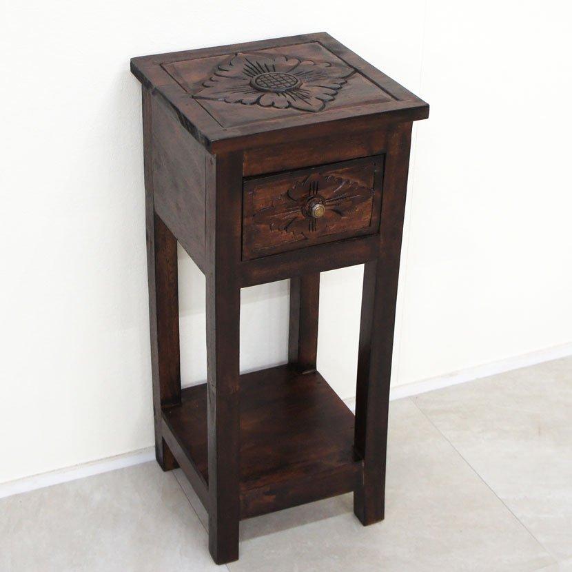 アジアン家具・木製テーブルL/H50*W44cm/BF-011M